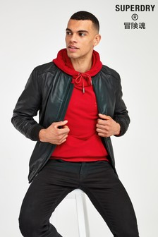 Superdry Black Light Leather Bomber Jacket