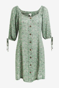 Tie Sleeve Button Front Dress