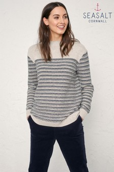 Seasalt Natural Cast Up Wendron Aran Jumper