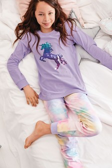 Pyžamová súprava s flitrovaným jednorožcom (3 – 16 rok.)
