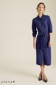 Jigsaw Blue Tie Front Jersey Shirt Dress