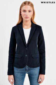 Whistles Navy Slim Jersey Jacket
