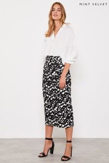Mint Velvet White Dalmatian Print Pencil Skirt