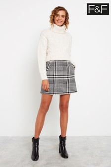 F&F Black Tweed Mini Skirt
