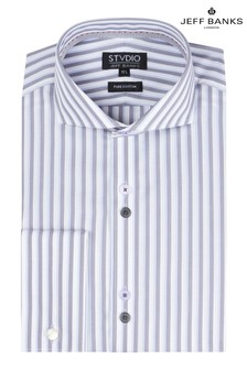 Jeff Banks Grey Striped Slim Fit Shirt With Cutaway Collar