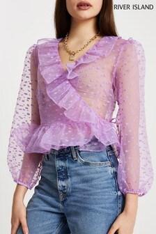 River Island Purple Bright Dobby Wrap Top