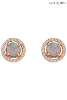 Accessorize Pink Sparkle Opal Stud Earrings