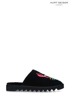 Kurt Geiger London Black Otter Rainbow Slipper Shoes