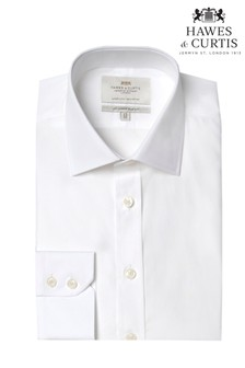 Hawes and Curtis White Slim Fit Easy Iron Single Cuff Shirt