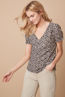 Cuff Sleeve Button Top