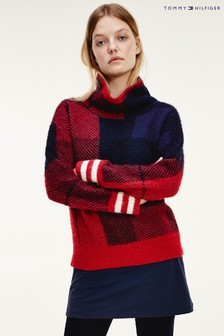 Tommy Hilfiger Red Icon Check High Neck Sweater