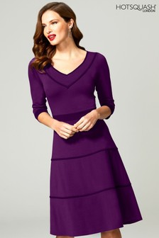 HotSquash Purple V-Neck Dress With Contrast Piping