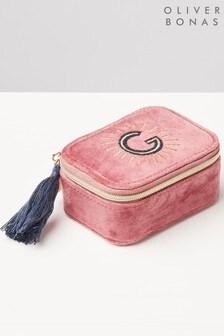 Oliver Bonas Sol Pink Velvet Alphabet G Travel Jewellery Box