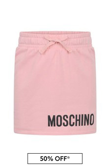 Girls Pink Cotton Fleece Skirt