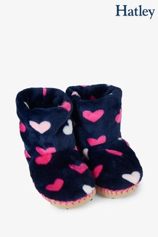 Hatley Blue Lovey Hearts Fleece Slippers