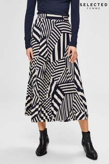 Selected Femme Navy Abstract Stripe Pleated Midi Skirt