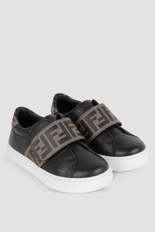 Kids Black/Brown Leather FF Logo Trainers