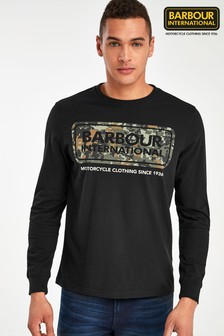 Barbour International Black Camo Logo Long Sleeve T-Shirt