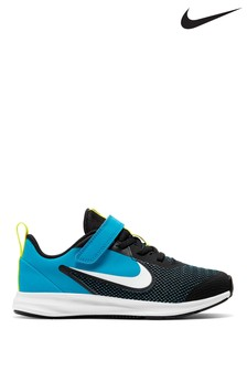 Nike Run Black/Blue Downshifter 9 Junior Trainers