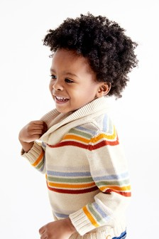 Stripe Shawl Neck Jumper (3mths-7yrs)