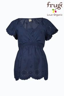 Frugi Navy Organic Cotton Maternity/Breastfeeding Top