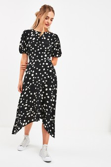 Puff Sleeve Asymmetric Dress