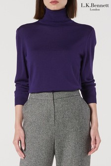 L.K. Bennett Purple Peggy Wool Top