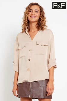F&F Neutral Utility Button Through Shirt