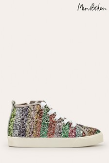 Boden Pink Rainbow Glitter High Top Trainers