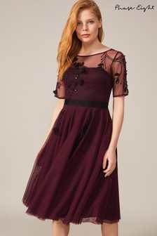 Phase Eight Red Felicia Embroidered Tulle Dress