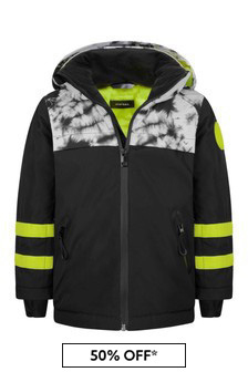 Boys Black Tie Dye Ski Jacket