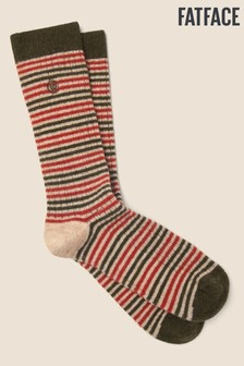 FatFace Khaki Stripe Boot Socks