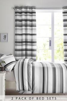 2 Pack Mono Stripe Bed Set