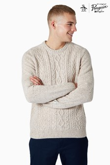 Original Penguin® Brown Donegal Fisherman Cable Knit Jumper