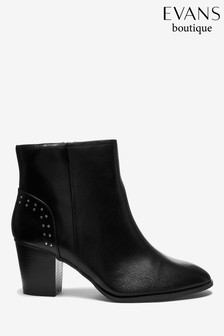 Evans Extra Wide Fit Black Studded Ankle Boots