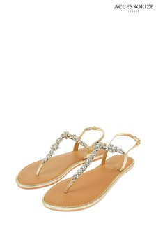 Accessorize Clear Caitlin Crystal Flower Sandals
