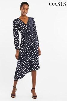 Oasis Blue Patched Spot Midi Dress