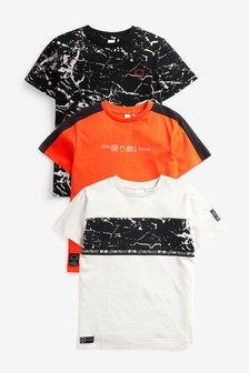3 Pack Colourblock Splat T-Shirts (3-16yrs)