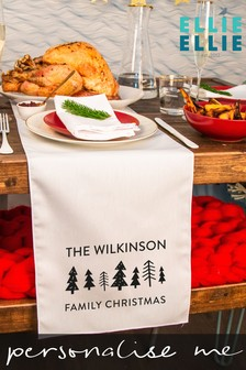 Personalised Scandi Family Christmas Table Runner by Ellie Ellie
