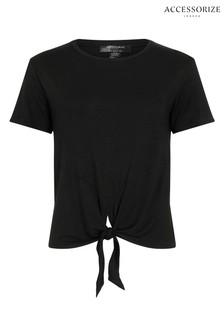 Accessorize Black Knot Front T-Shirt