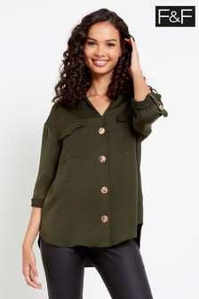 F&F Khaki Utility Button Through Shirt