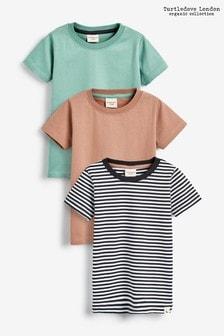 Turtledove London Brown Organic Cotton Layering T-Shirts Three Pack