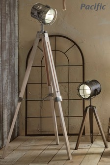 Capstan White Wash And Silver Metal Tripod Floor Lamp by Pacific