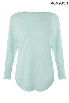 Monsoon Green Slash Neck Knit Jumper