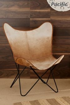 Pacific Hide Leather And Iron Butterfly Chair