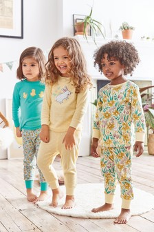 3 Pack Rabbit And Floral Print Snuggle Pyjamas (9mths-8yrs)