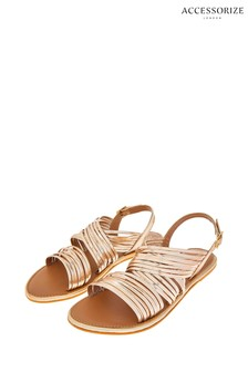 Accessorize Gold Sabrina Strappy Gladiator Sandals