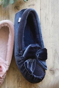 Velvet Moccasin Slippers