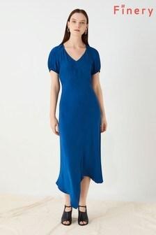Finery London Blue Harley Asymmetric Dress