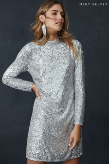 Mint Velvet Nude Champagne Sequin Mini Dress